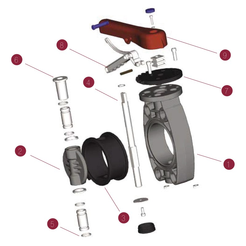 Despiece Válvula de mariposa PVC Serie Standard FPM