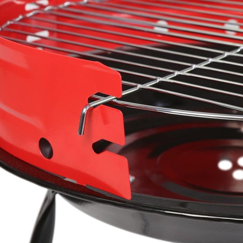 detalle barbacoa carbón redonda acero color rojo