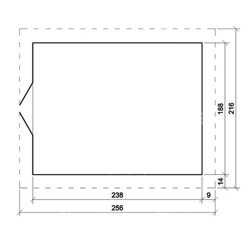 Dimensiones Cobertizo madera 200 x 250 x 218