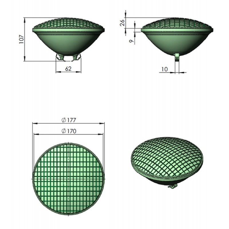 Dimensiones Lámpara Halógena PAR56