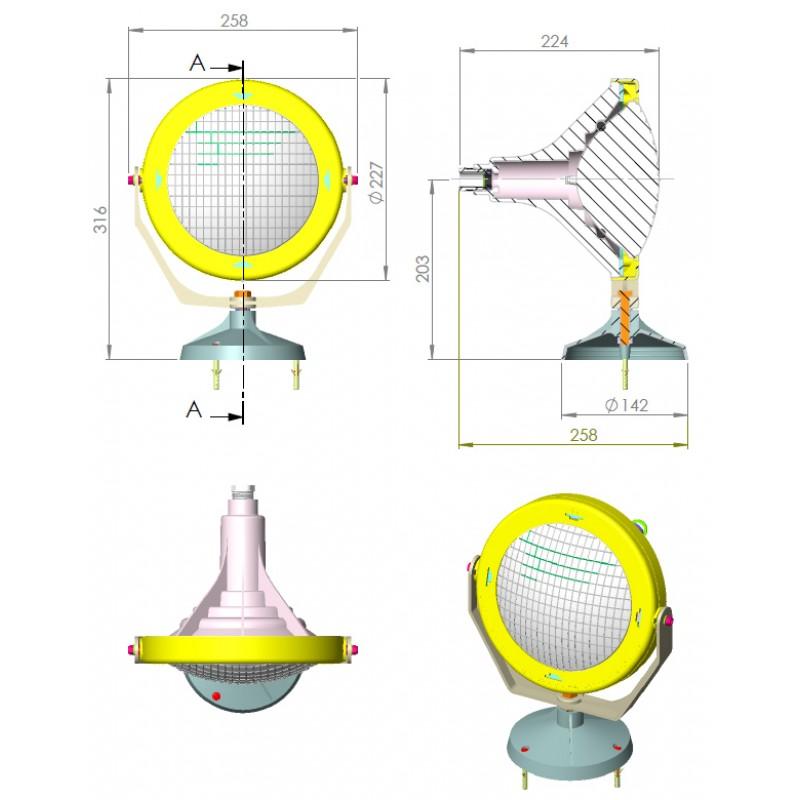 Dimensionres proyector subacuático Astralpool