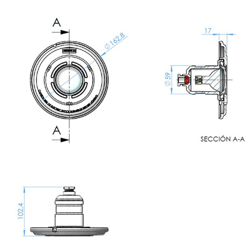 Dimensiones punto luz halógeno Astralpool