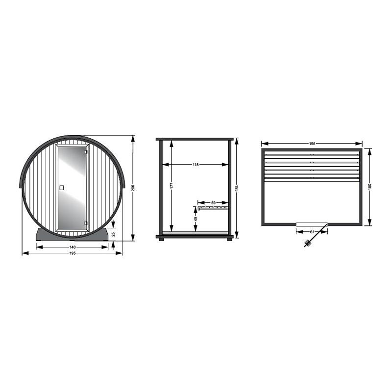 Dimensiones Sauna exterior barril Barrel Ir
