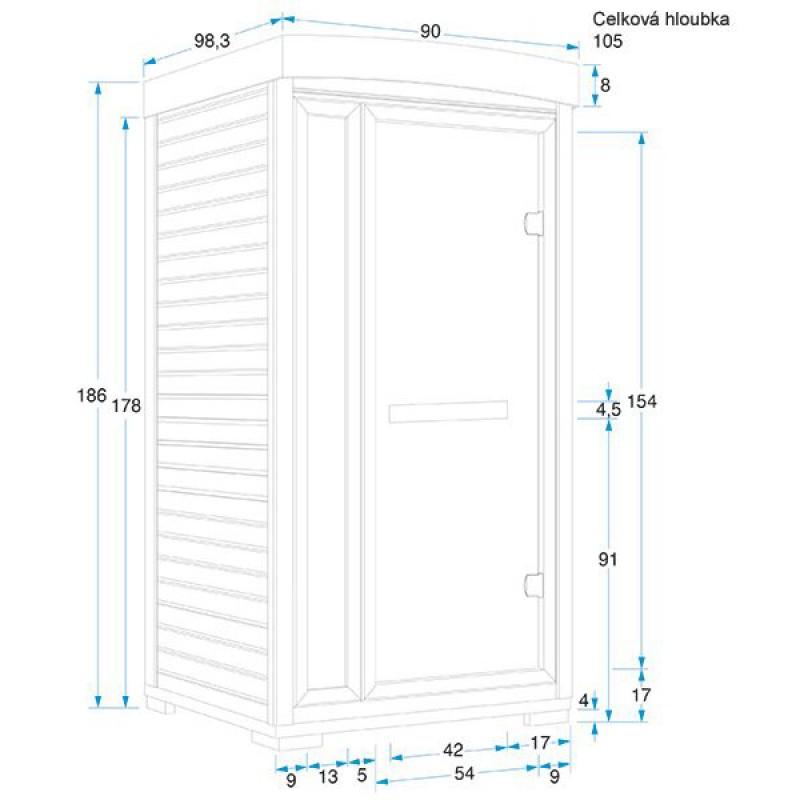 Dimensiones Sauna infrarrojos Ruby