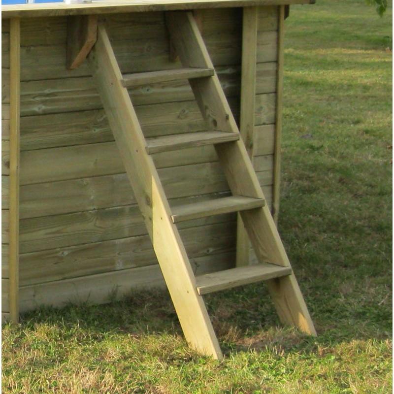 Escalera exterior de madera piscina Macadamia