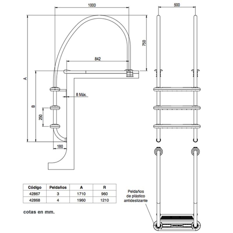 Escalera Komfort 1000 Astralpool - Dimensiones