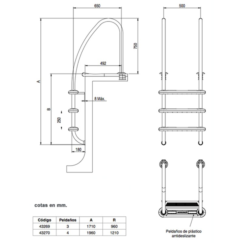 Escalera Komfort 650 Astralpool - Dimensiones