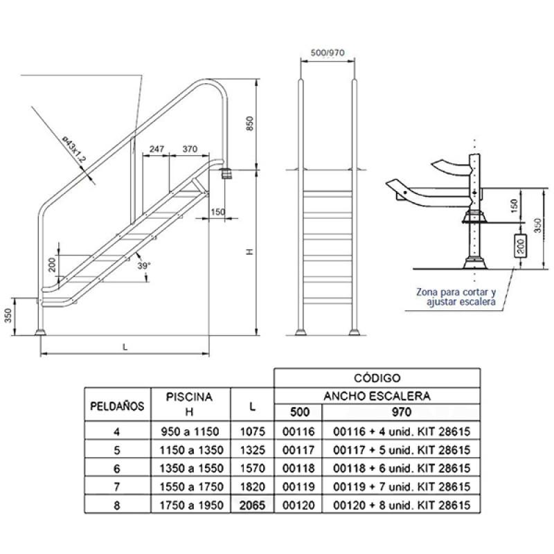Escalera Modelo Ancho 500 Astralpool - Dimensiones