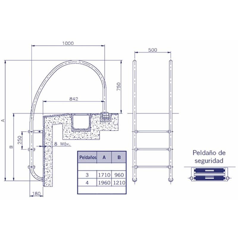 Escalera para Rebosadero AstralPool - Dimensiones