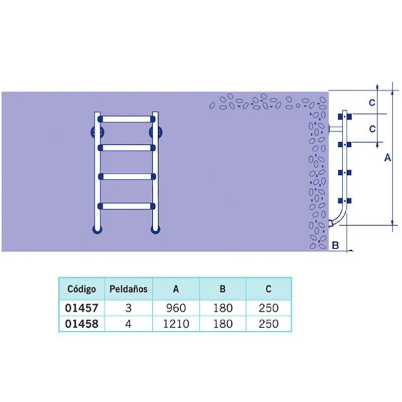 Escalera Partida Inferior Astralpool - Dimensiones