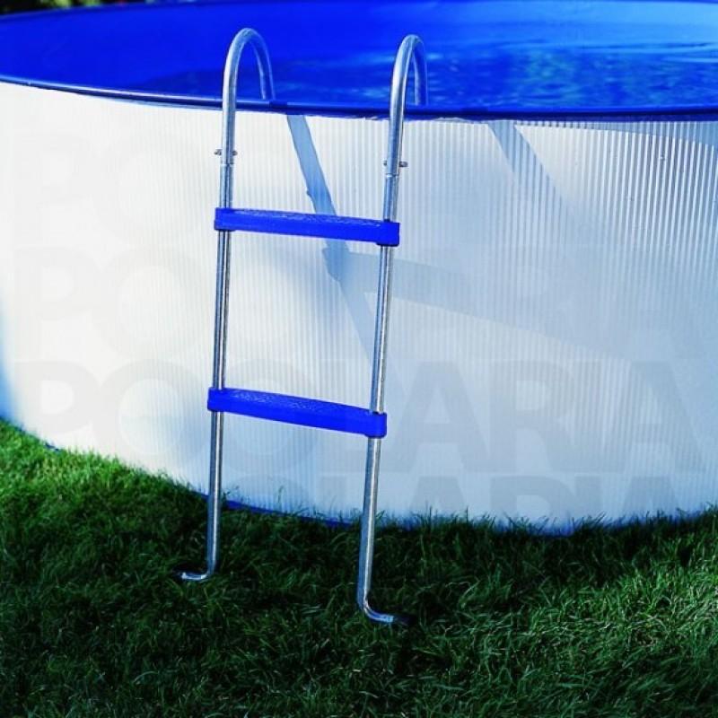 Escalera acceso a piscina circular GRE Lanzarote chapa blanca