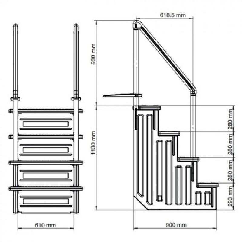 Plano dimensiones escalera de seguridad