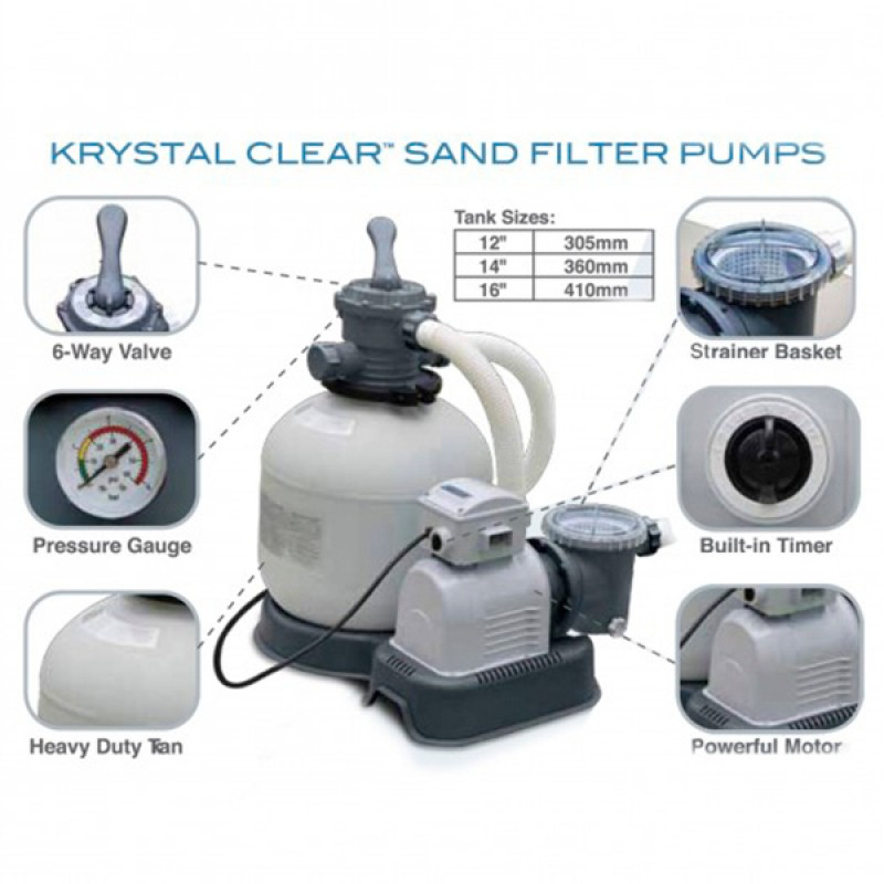 Especificaciones Depuradora Intex de Arena Krystal 10.500 l/h