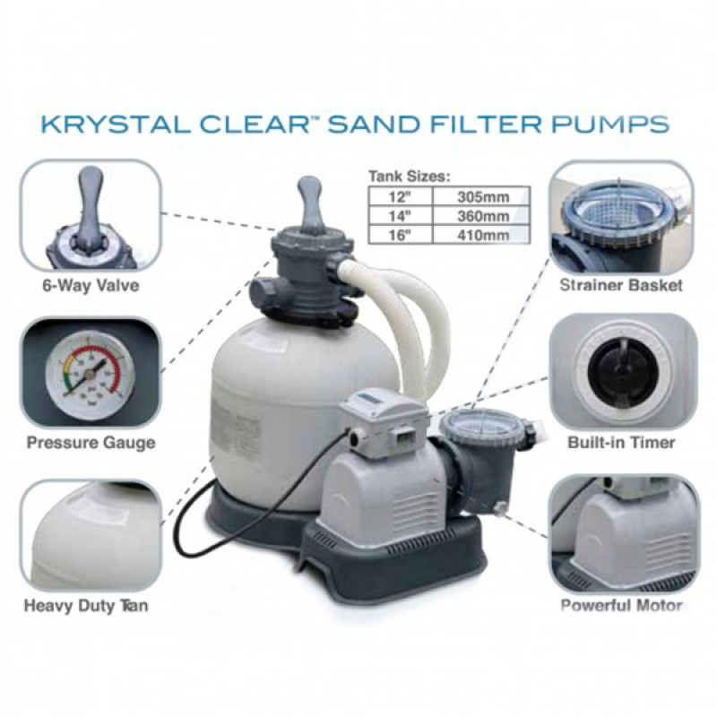 Especificaciones Depuradora Intex de Arena Krystal  12.000 l/h