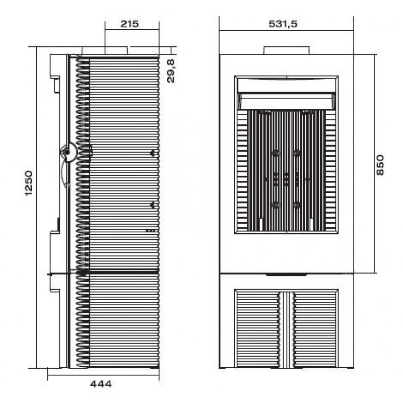 Estufa de Leña Argos Invicta - Plano Medidas