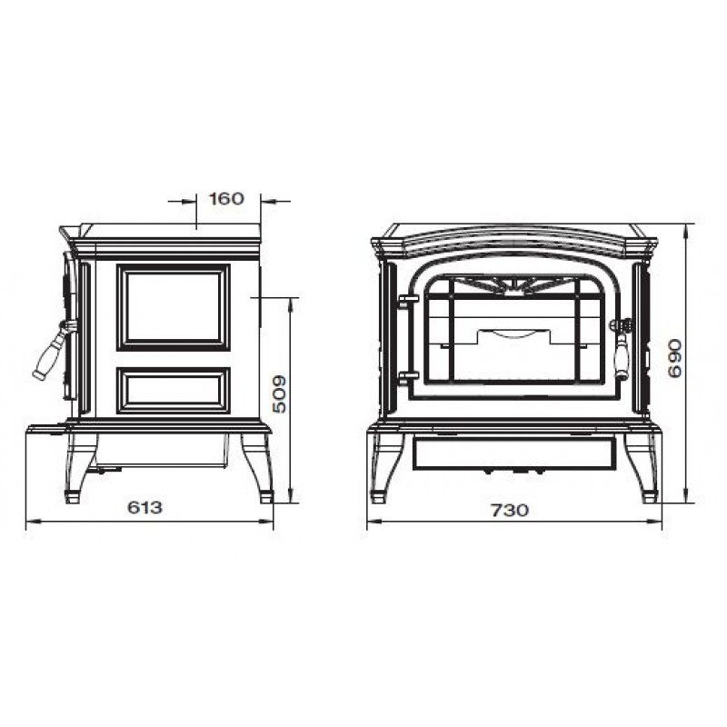 Estufa de Leña Bradford Invicta - Plano Medidas