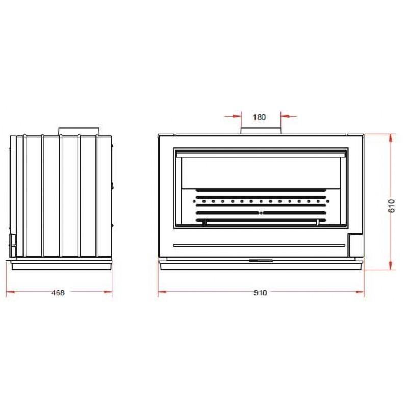 Estufa de Leña Preston Invicta - Plano Medidas