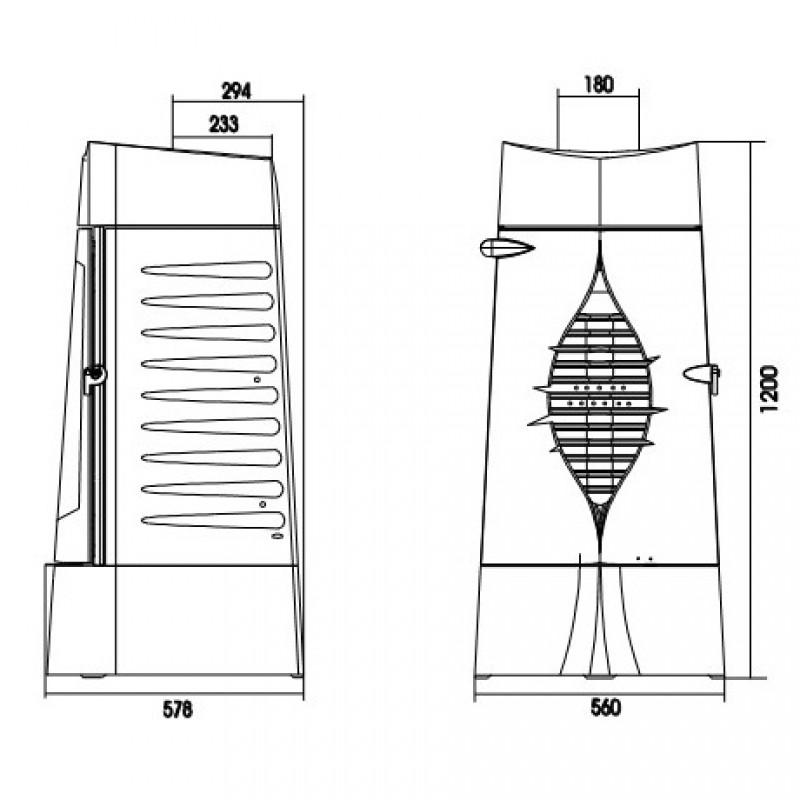 Estufa de Leña Présage Invicta - Plano Medidas