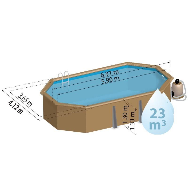 Piscina de madera gre safran 637x412x133 outlet piscinas for Medidas de piscinas