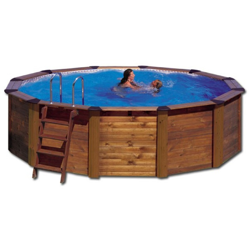 Piscina gre madera island circular outlet piscinas for Oulet piscinas