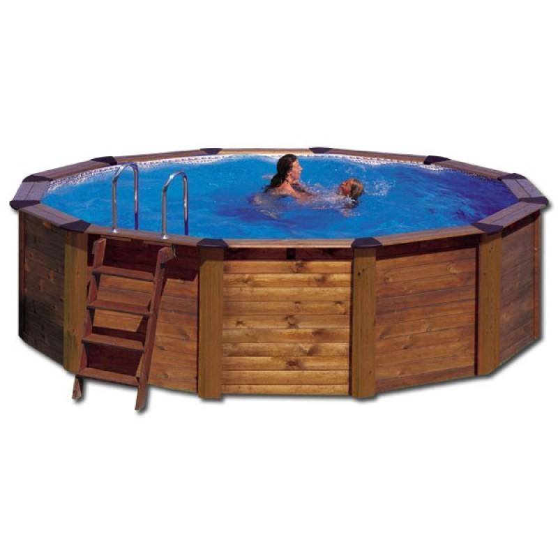Piscina gre madera island circular outlet piscinas for Oulet piscinas