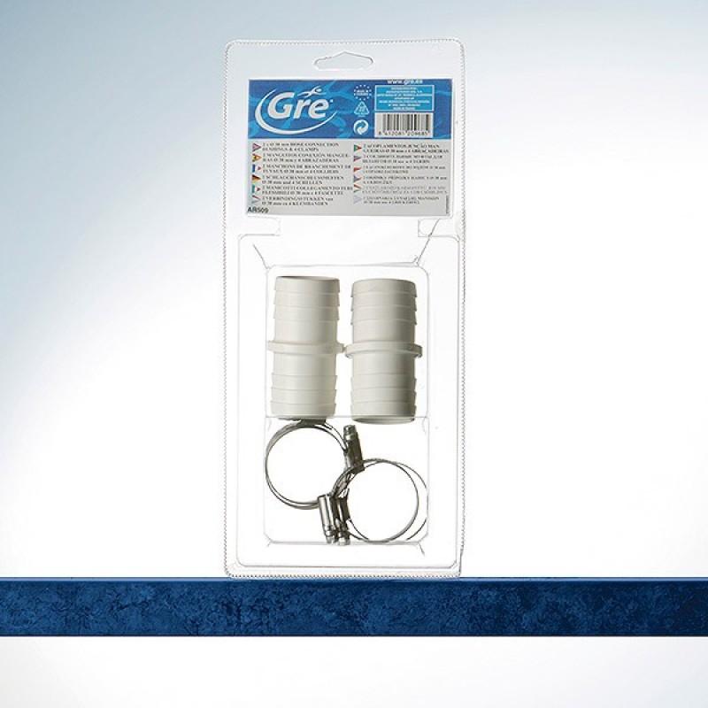 Kit conectores + abrazaderas Ø 38 mm Gre