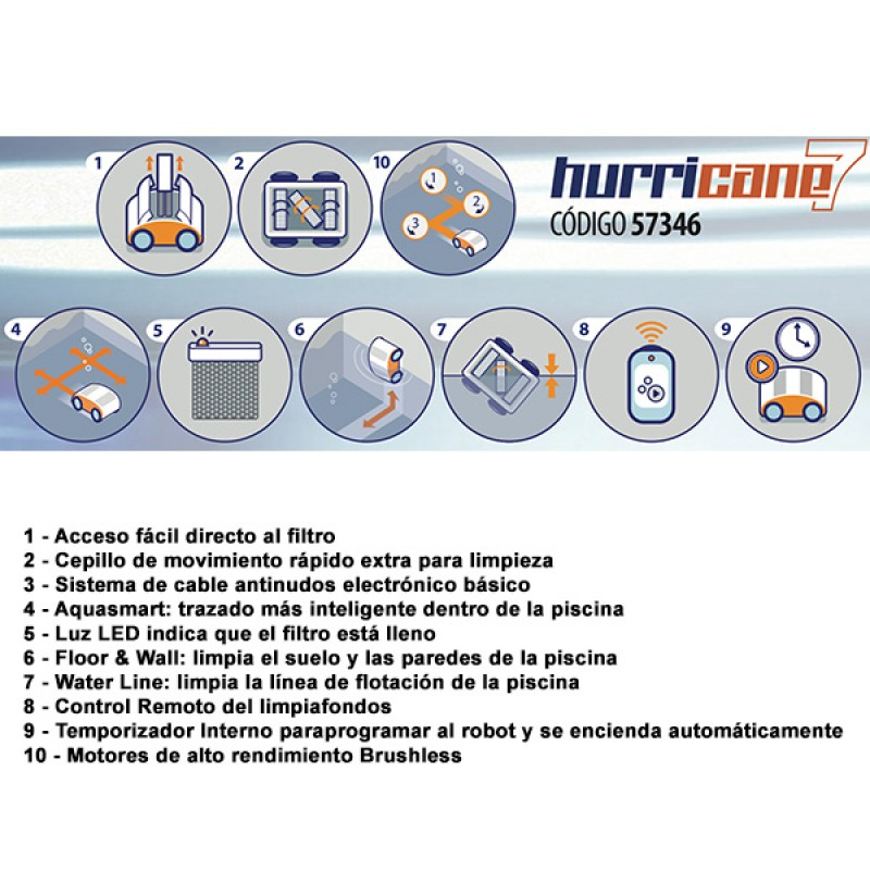 Limpiafondos Hurricane 7 Astralpool