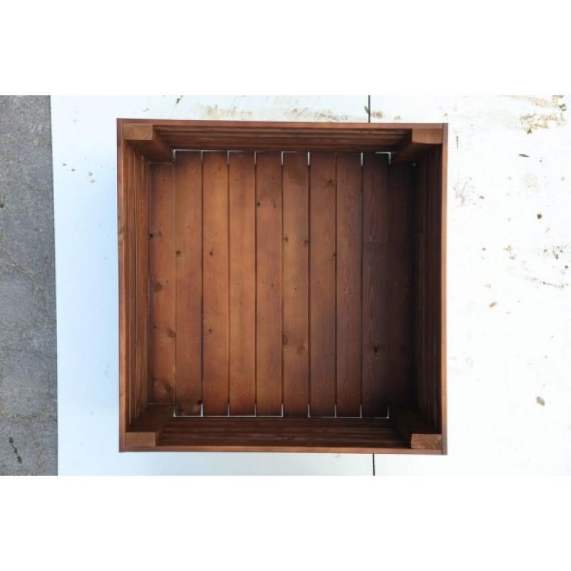 Macetero de Tablas rectangular madera natural Madelea interior