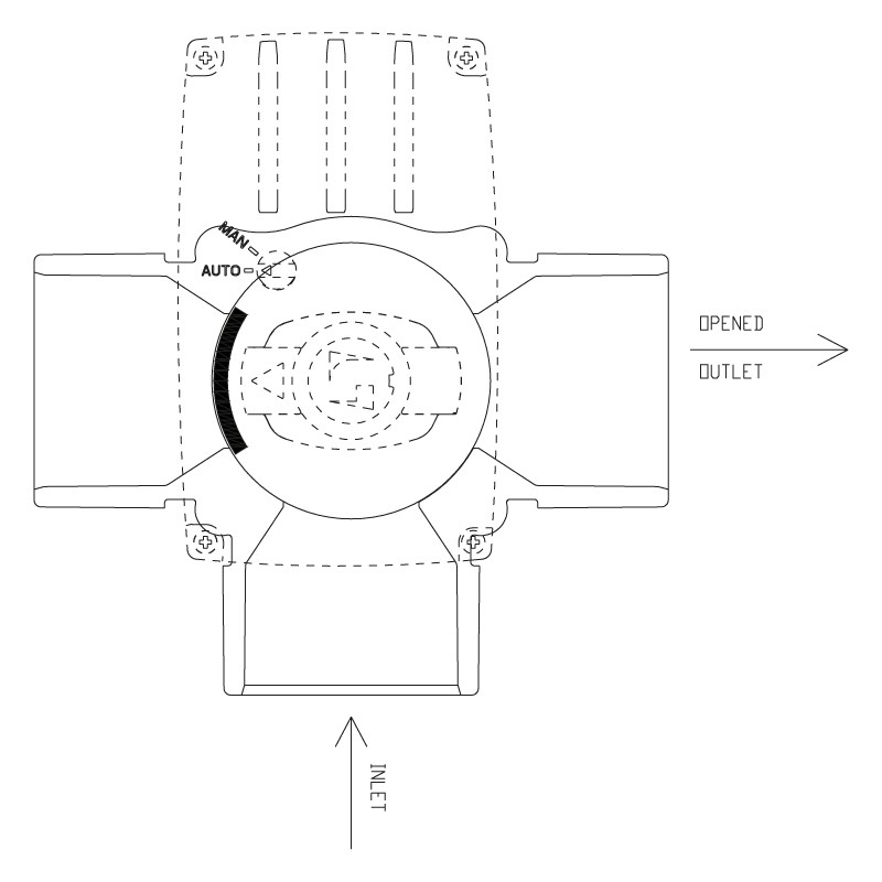 Funcionamiento válvula distribuidora de 3 vías PVC automático