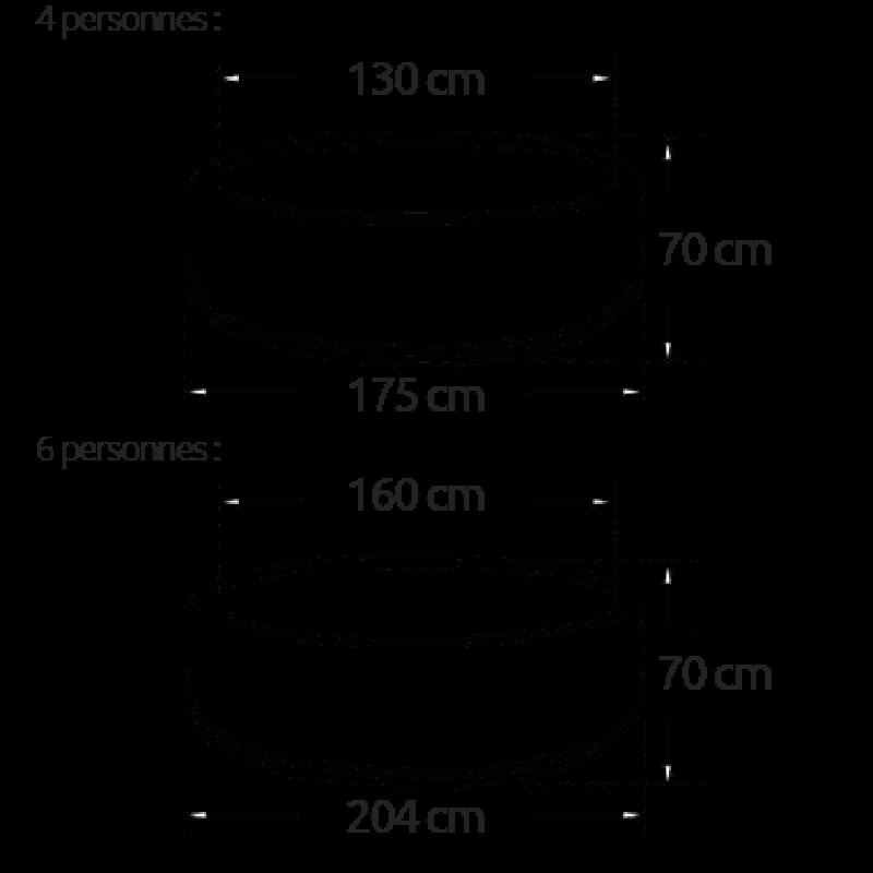 Medidas de los modelos de Spa Hinchable