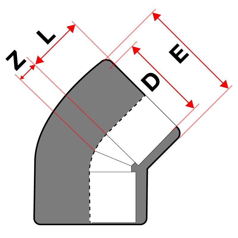 Medidas Codo de 45° PVC Cepex