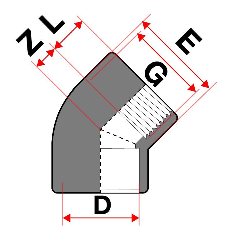 Medidas Codo mixto 45º PVC