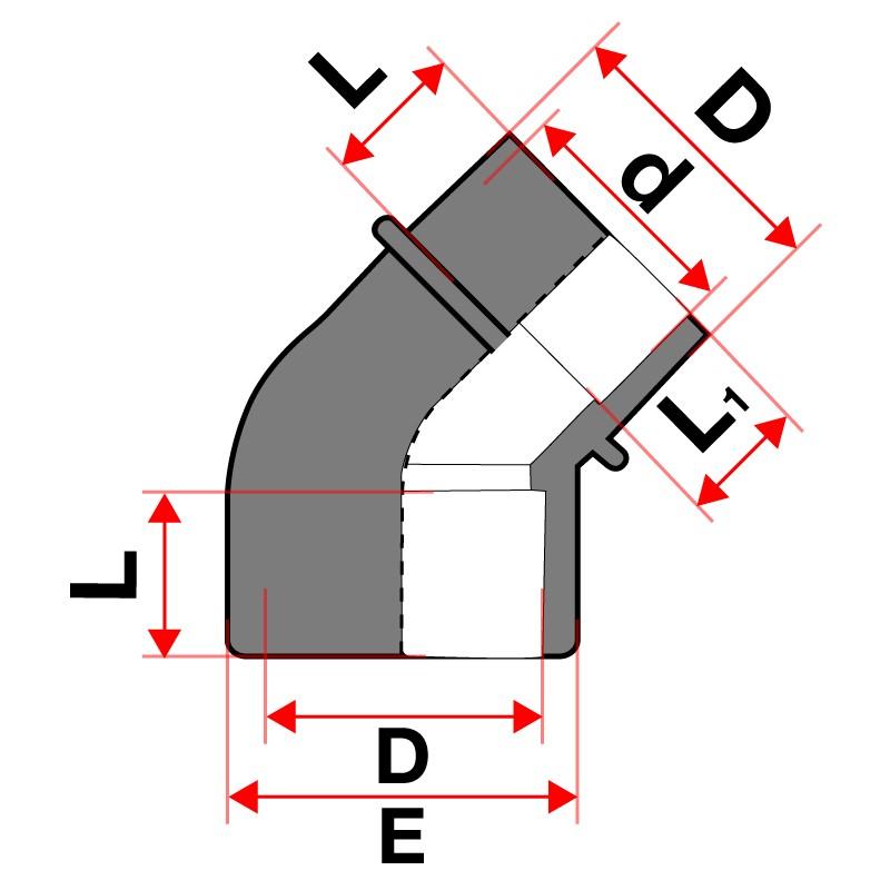 Medidas Codo reducido 45º PVC