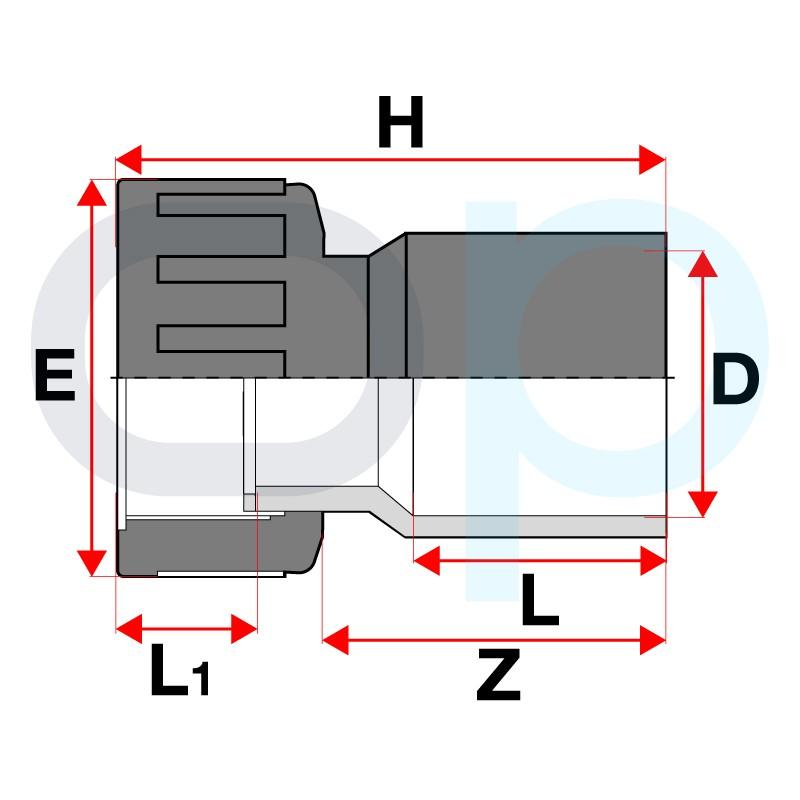 Medidas Conjunto racord conexión PVC