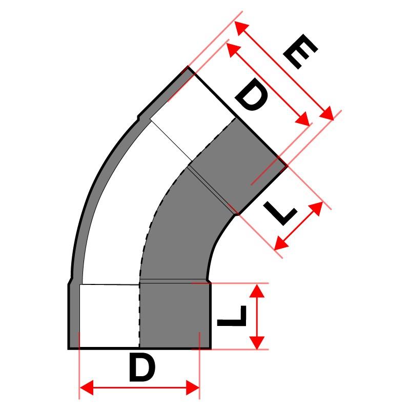 Medida Curva para encolar de 45º PVC