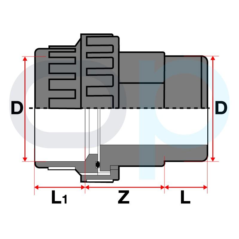 Medidas enlace M-H 3 piezas encolar PVC