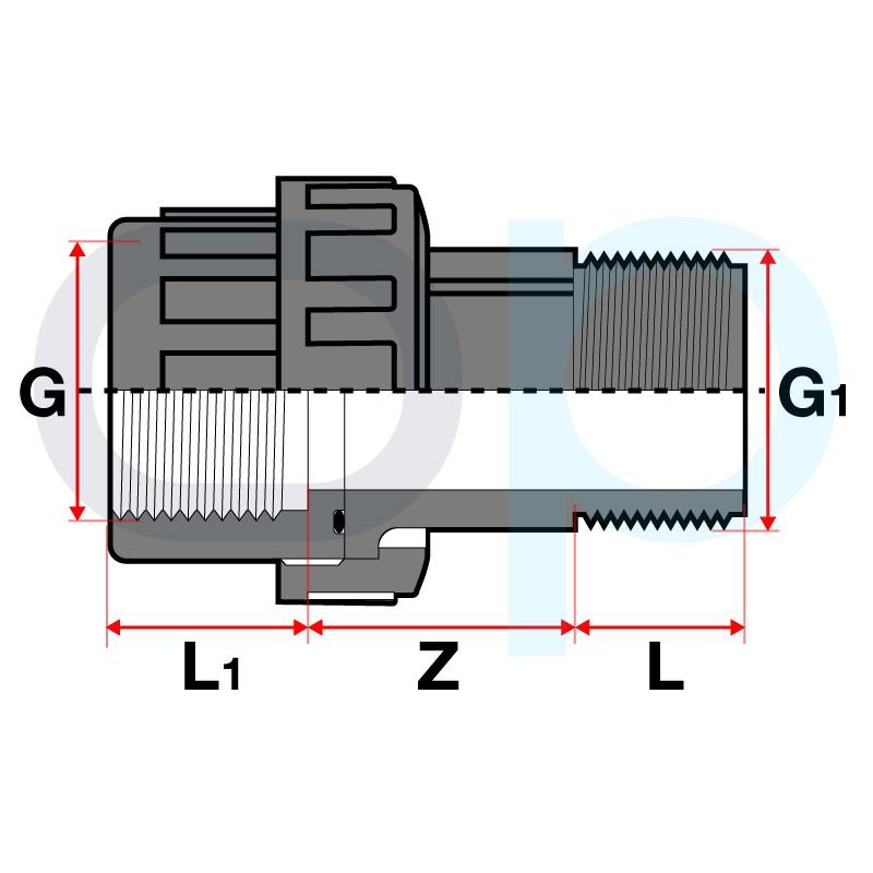 Medidas enlace M-H 3 piezas PVC roscar