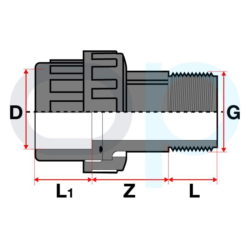 Medidas  Enlace mixto m/h 3 piezas PVC