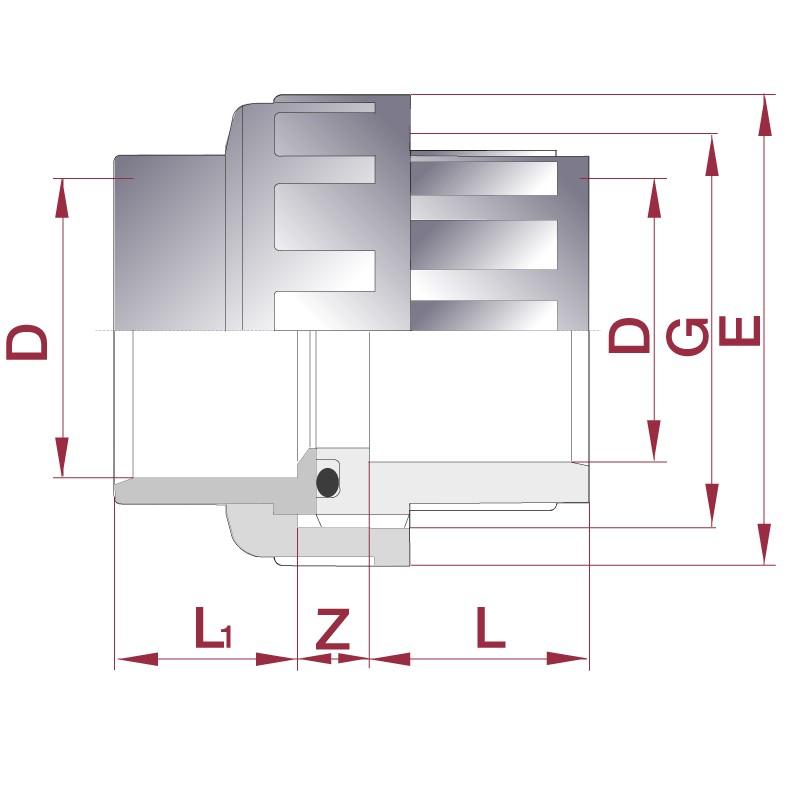 Medidas enlace de PVC de 3 piezas