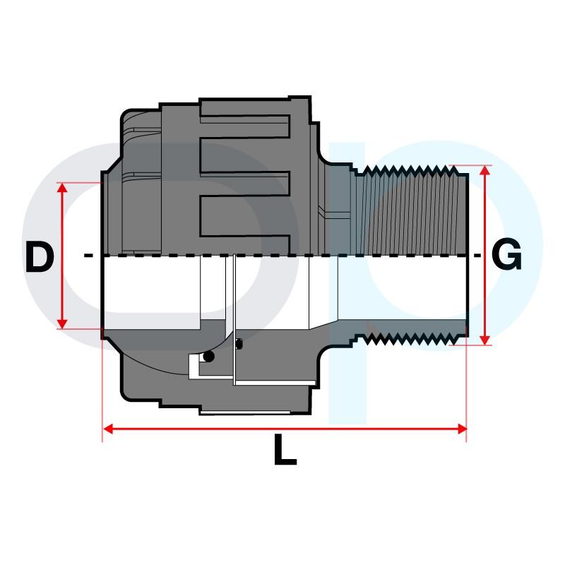 Medidas Manguito orientable PVC encolado