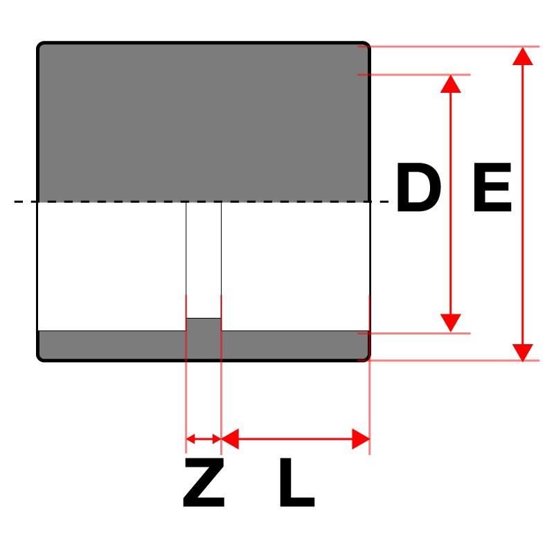 Medidas Manguito unión PVC Cepex