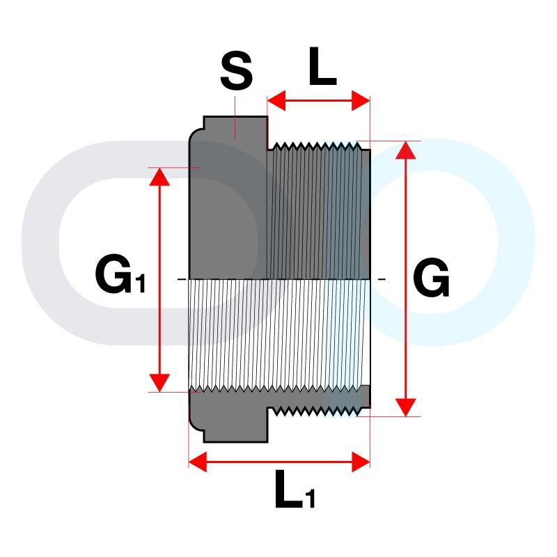 Medidas Reducción roscada corta PVC macho x hembra