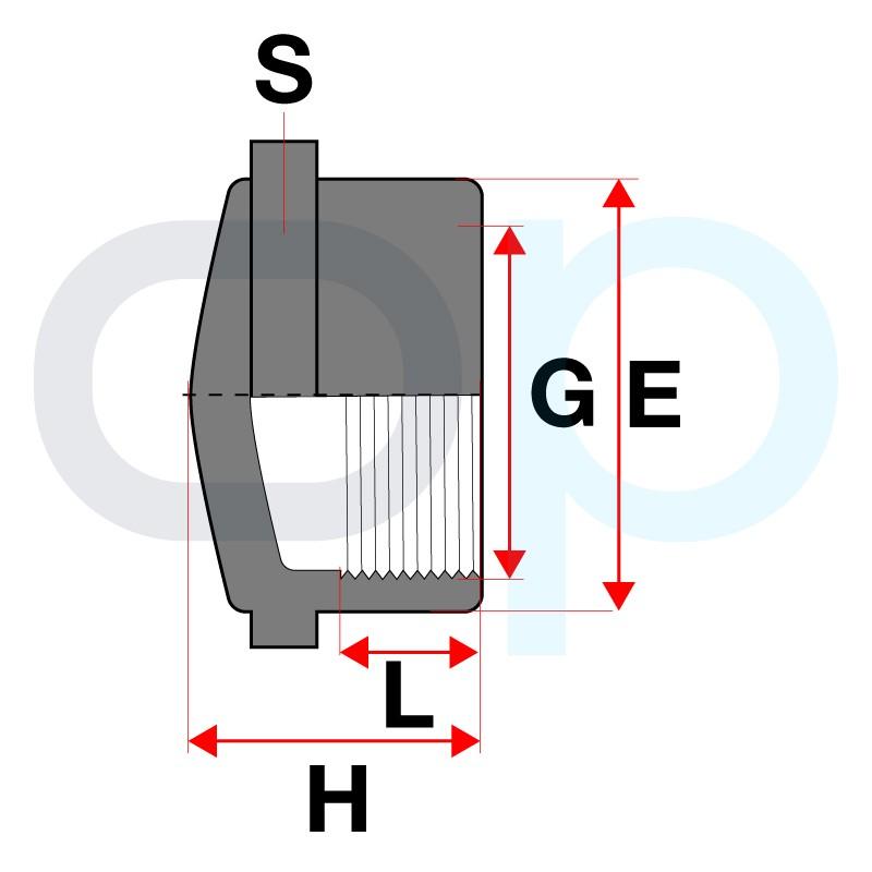 Medidas Tapón rosca PVC