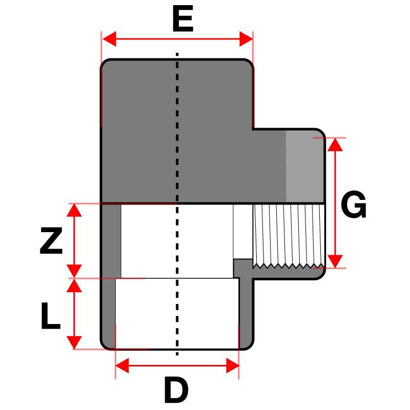 Medidas Te mixta reforzada 90º PVC