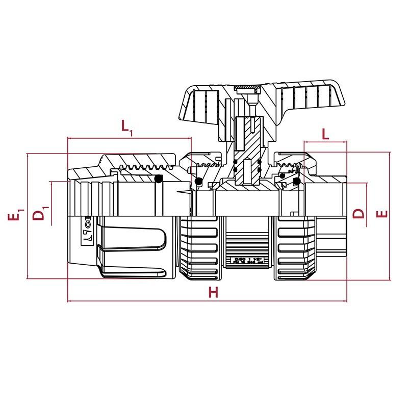 Medidas válvula de bola [STD] PVC conexión PE para encolar