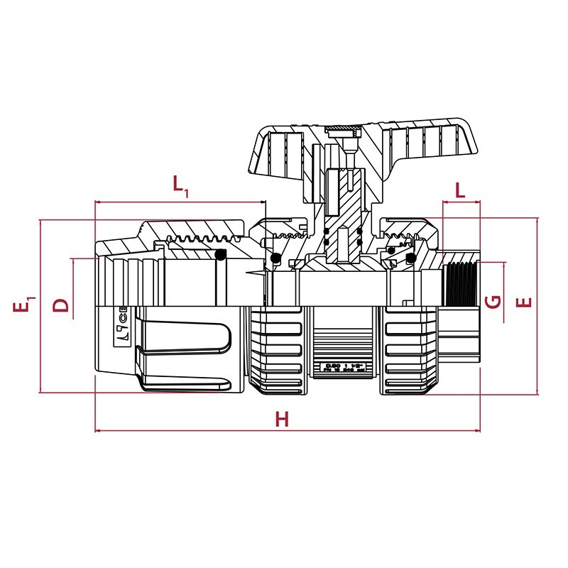 Medidas Válvula de bola [STD] PVC conexión PE para roscar