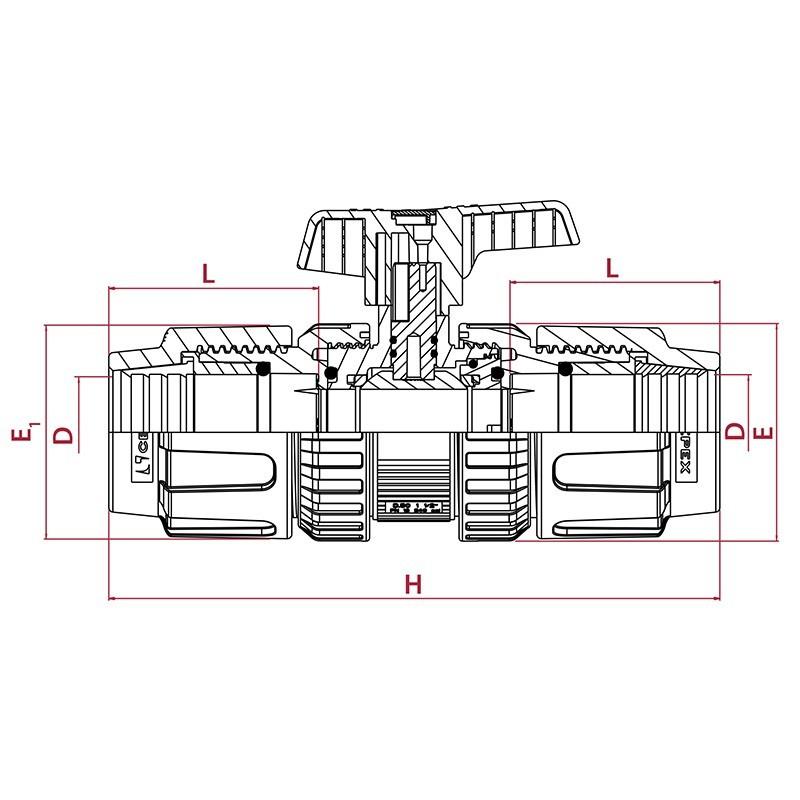 medidas Válvula de bola STD PVC conexión PE x PE