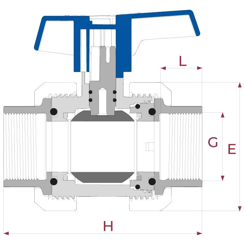 Medidas Válvula de bola e-QUA PVC PN12 roscar