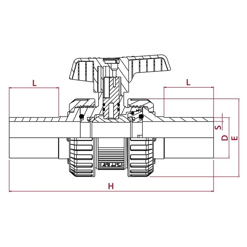 Medidas Válvula de bola STD PVC soldadura a tope PE100