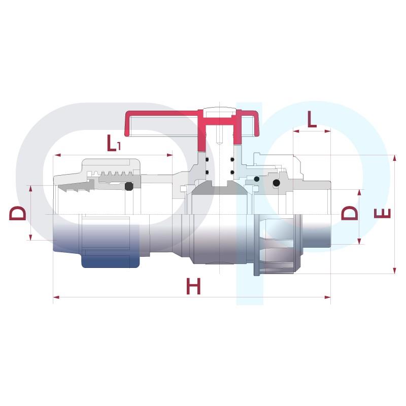 Medidas Válvula bola Uniblock PVC PE-EPDM conexión PE y encolar